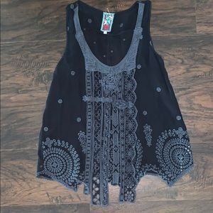 Johnny Was Gray Black Embroidered Fringe Tank M